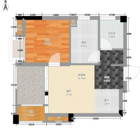 招商假日3651室0厅1卫1厨51.00㎡户型图