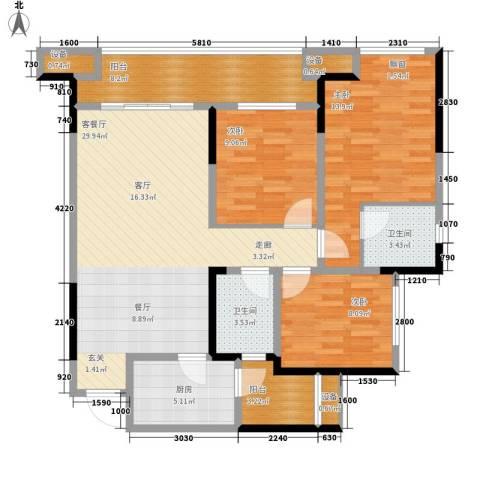 旭辉新里城3室1厅2卫1厨86.55㎡户型图