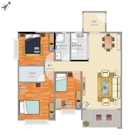 和富家园3室1厅2卫1厨101.00㎡户型图