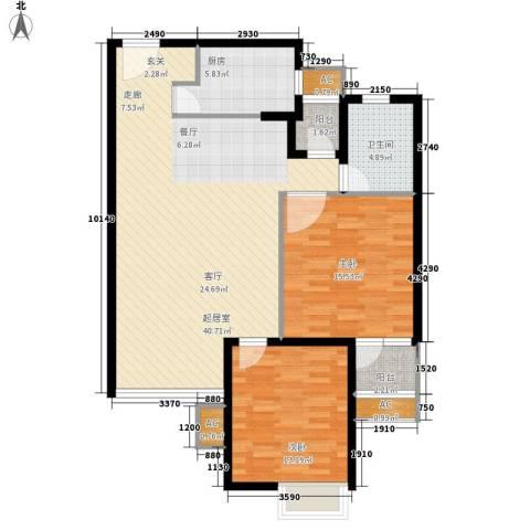 中远两湾城四期2室0厅1卫1厨122.00㎡户型图