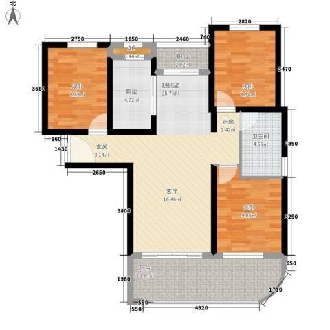 宏图高龙湾1号3室0厅1卫1厨97.00㎡户型图