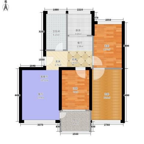 鸿旺阳光小区3室1厅1卫1厨88.00㎡户型图