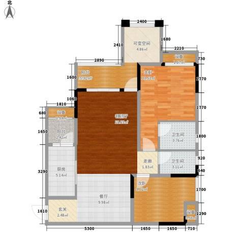 旭辉新里城2室1厅2卫1厨83.59㎡户型图