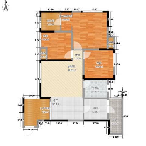 旭辉新里城3室1厅2卫1厨95.22㎡户型图