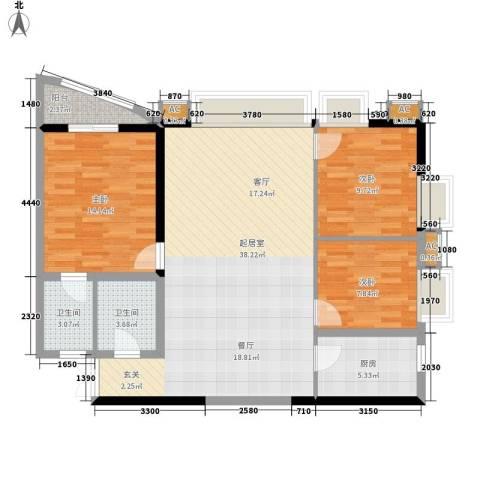 光宇阳光海岸3室0厅2卫1厨95.00㎡户型图