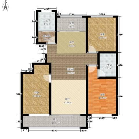 凯旋国际花园3室1厅2卫1厨138.00㎡户型图