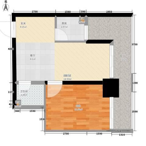 新时代广场1室0厅1卫1厨72.00㎡户型图