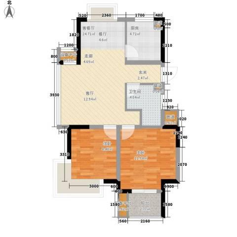 嘉业・阳光城2室1厅1卫1厨85.00㎡户型图