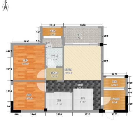 招商假日3652室0厅1卫1厨68.00㎡户型图