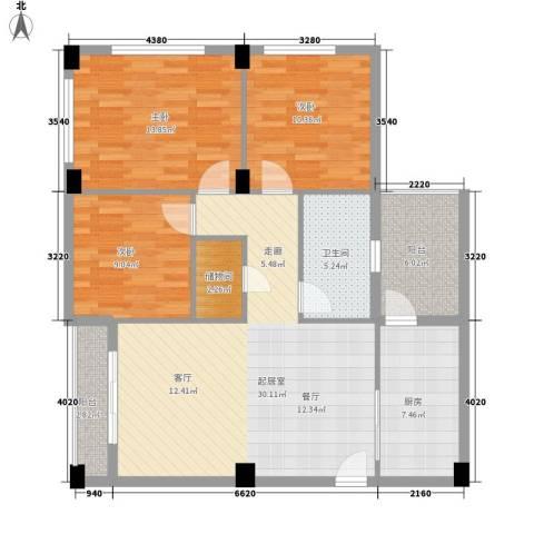 嘎洒集贸市场北区3室0厅1卫1厨102.00㎡户型图