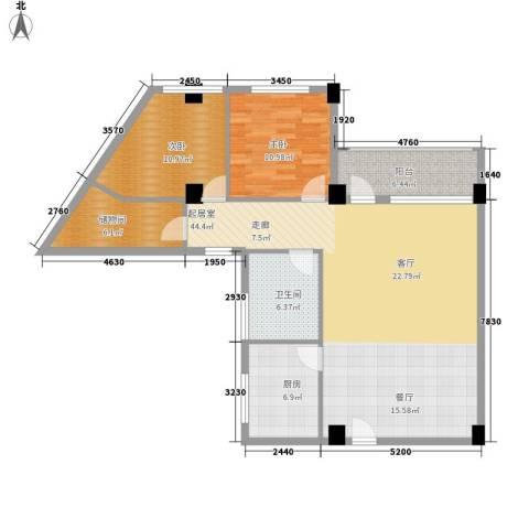 嘎洒集贸市场北区2室0厅1卫1厨101.00㎡户型图