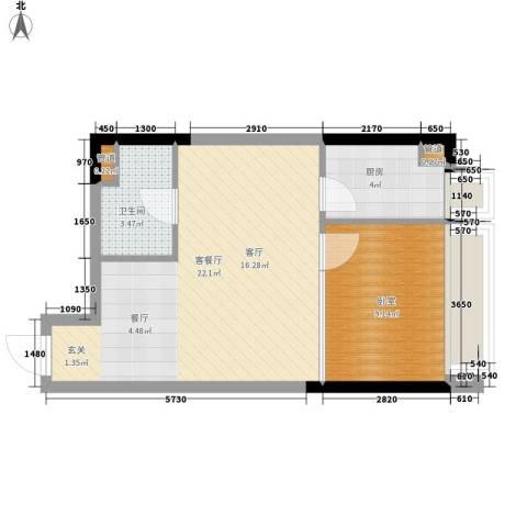 亚太商谷1厅1卫1厨39.10㎡户型图