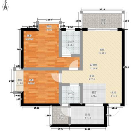 优活城2室0厅2卫1厨69.00㎡户型图