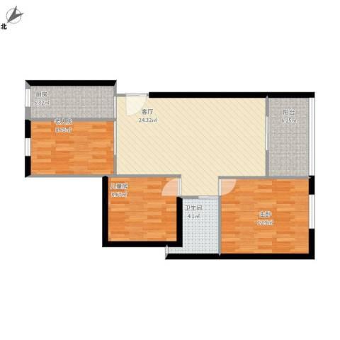 四季金辉3室1厅1卫1厨98.00㎡户型图