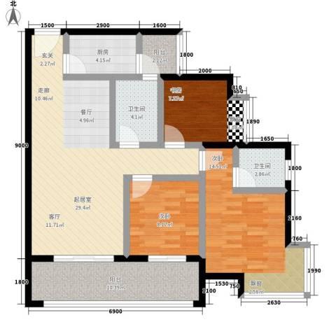 优活城3室0厅2卫1厨86.00㎡户型图