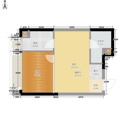 亚太商谷1厅1卫1厨35.23㎡户型图