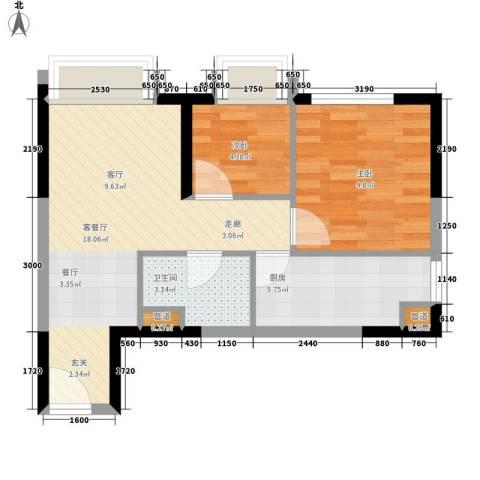 亚太商谷2室1厅1卫1厨44.00㎡户型图