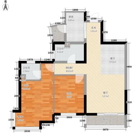 黄龙花园2室1厅2卫1厨86.00㎡户型图