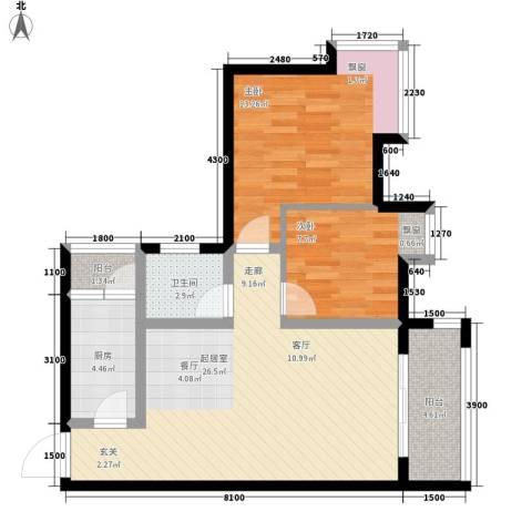 优活城2室0厅1卫1厨64.00㎡户型图
