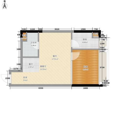 亚太商谷1厅1卫1厨41.23㎡户型图