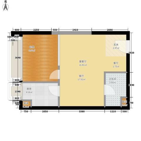 亚太商谷1厅1卫1厨38.88㎡户型图