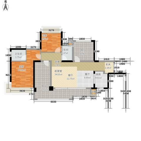 美林假日2室0厅2卫1厨119.00㎡户型图