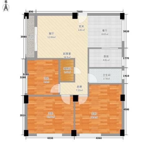 嘎洒集贸市场北区3室0厅1卫1厨97.00㎡户型图