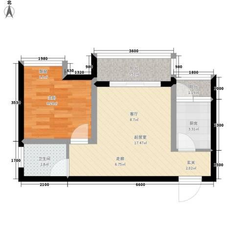 优活城1室0厅1卫1厨40.00㎡户型图