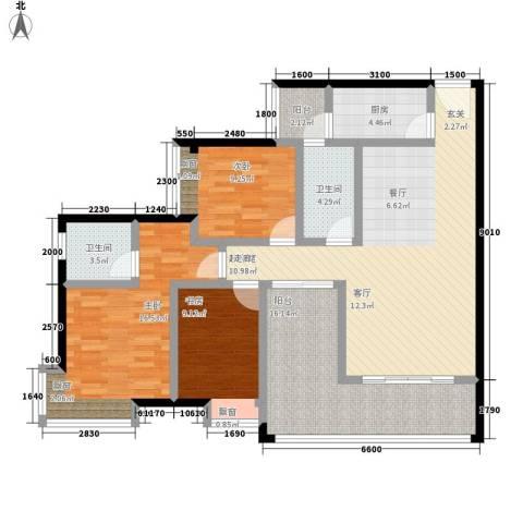 优活城3室0厅2卫1厨98.00㎡户型图