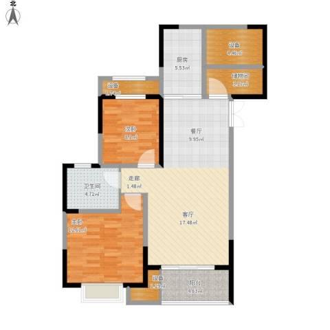 花桥裕花园2室1厅1卫1厨107.00㎡户型图