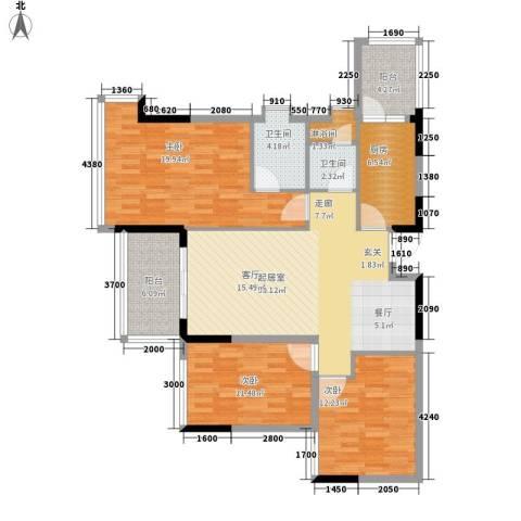 增城雅居乐御宾府3室0厅2卫1厨121.00㎡户型图