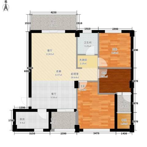 嘎洒集贸市场北区3室0厅1卫1厨88.00㎡户型图