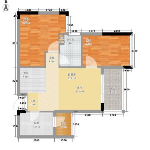 增城雅居乐御宾府2室0厅1卫1厨74.00㎡户型图