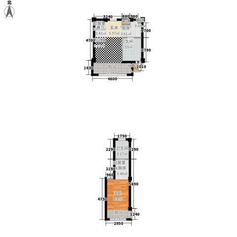恒盛温泉新城2卫0厨70.00㎡户型图