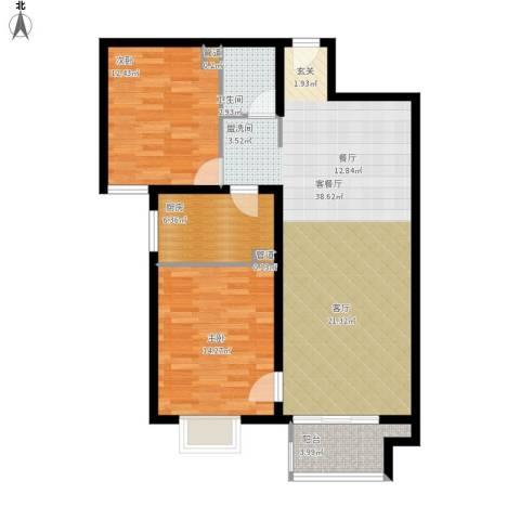 悦澜湾2室1厅1卫1厨111.00㎡户型图