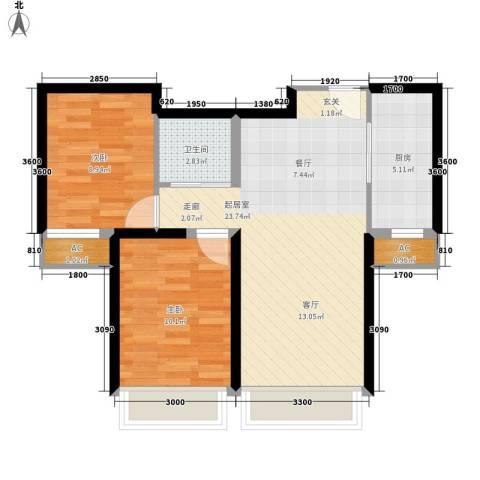 汤河铭筑2室0厅1卫1厨76.00㎡户型图