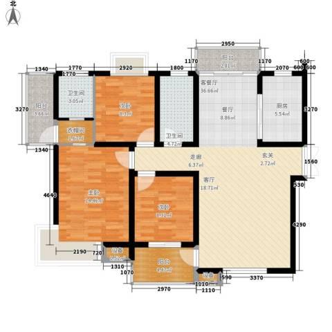 安鑫雅庭3室1厅2卫1厨124.00㎡户型图