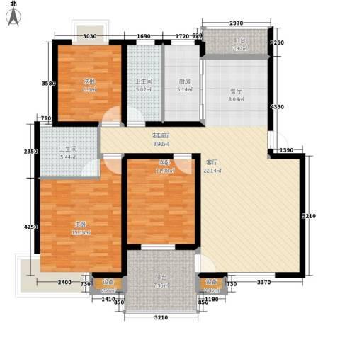 安鑫雅庭3室1厅2卫1厨123.00㎡户型图