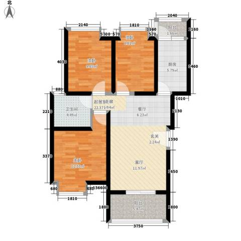 中华坊云岭3室0厅1卫1厨94.00㎡户型图