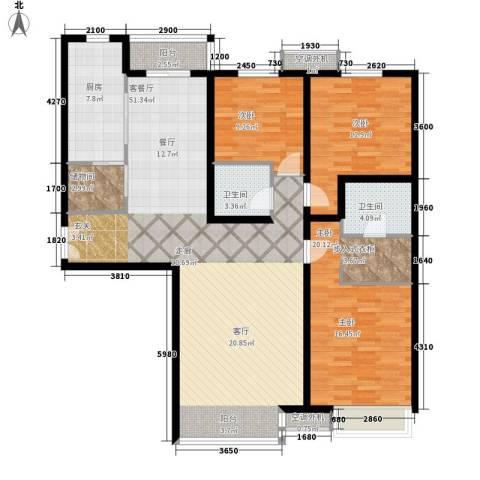 电视台家属院3室1厅2卫1厨165.00㎡户型图