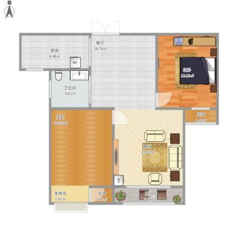 绿洲白马公馆2室1厅1卫1厨96.00㎡户型图