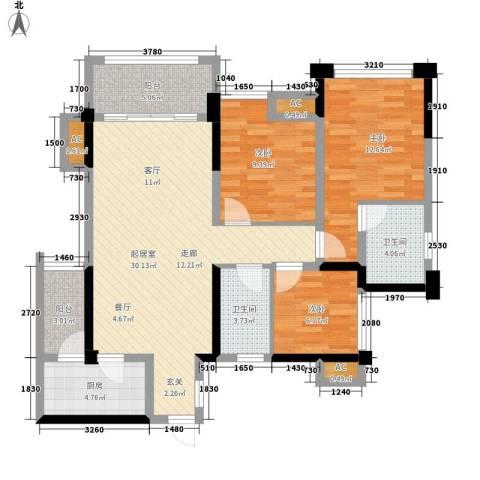天香3室0厅2卫1厨95.00㎡户型图