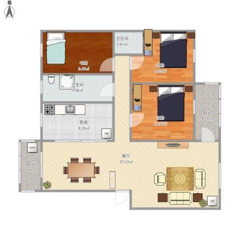 芙蓉公寓3室1厅2卫1厨123.00㎡户型图