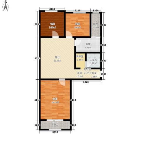 和平路东武装部宿舍3室0厅1卫1厨90.00㎡户型图