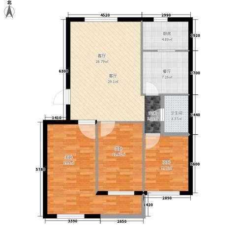 汇鑫IBC3室2厅1卫1厨119.00㎡户型图