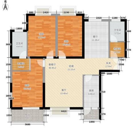 林业厅家属院3室1厅2卫1厨155.00㎡户型图