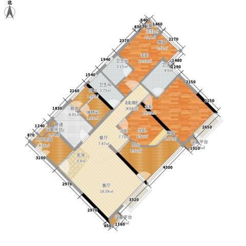 时代玫瑰园3室0厅3卫1厨136.00㎡户型图