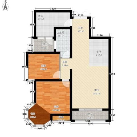中润华侨城2室1厅1卫1厨122.00㎡户型图