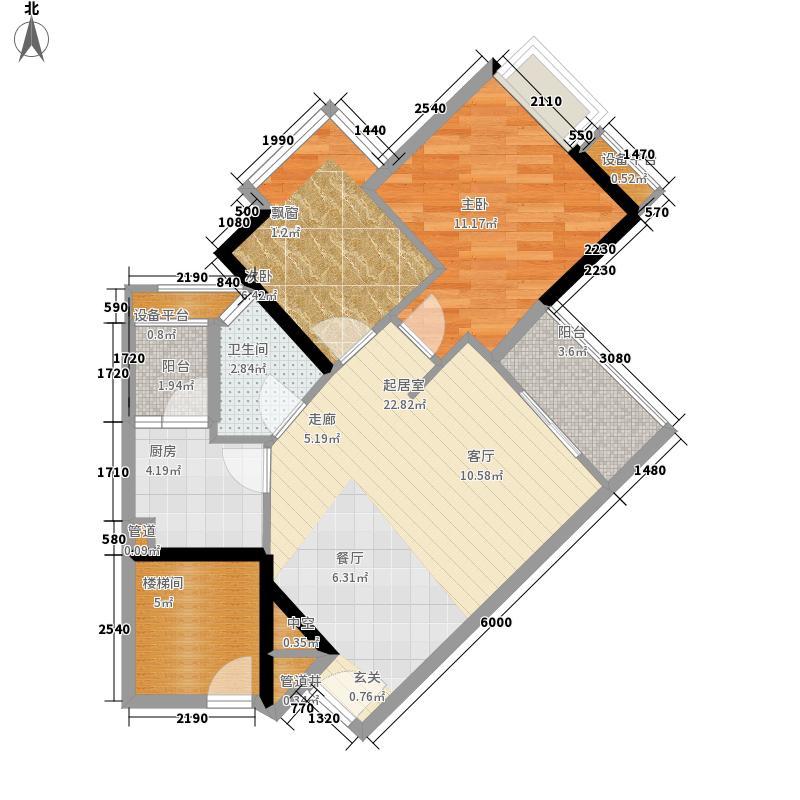 时代玫瑰园70.82㎡A区2栋03面积7082m户型