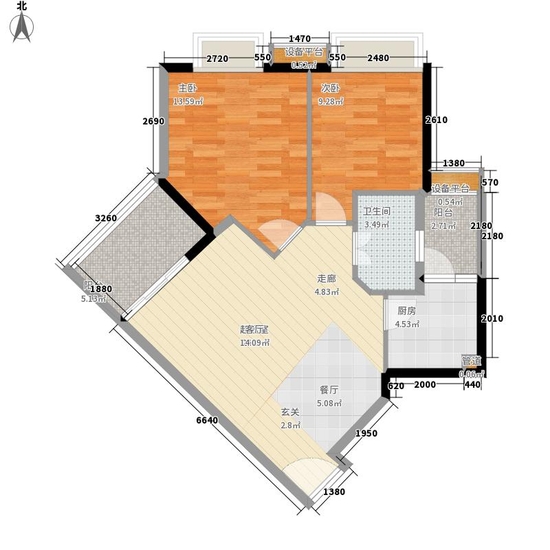 时代玫瑰园72.94㎡面积7294m户型